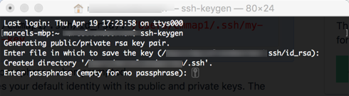 Setting to generate a SSH key