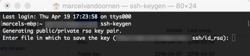 Generate a SSH key